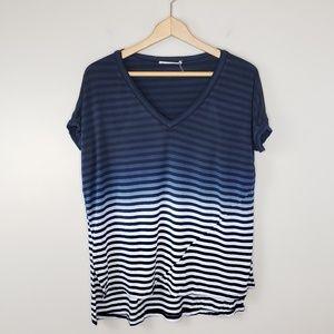 Le Sample | Striped Dip Dye Top